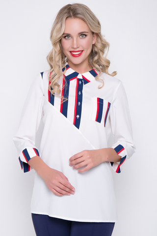 """<p>Оригинальная рубашка на каждый день. Отличный вариант для деловой леди.Хорошо сочетается с брюками """"Армани""""(черника) из нашей коллекции. Планка на пуговицах с отложным воротом на стойке. Рукав 3/4 с манжетом.</p>"""