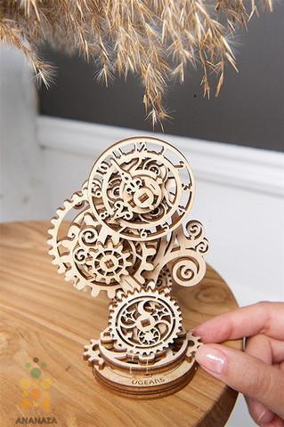 Стимпанк-часики от Ugears - сборная деревянная механическая модель, 3D пазл. Конструктор
