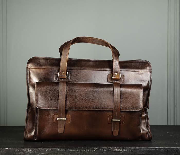 BAG468-2 Мужская сумка саквояж из натуральной кожи фото 02