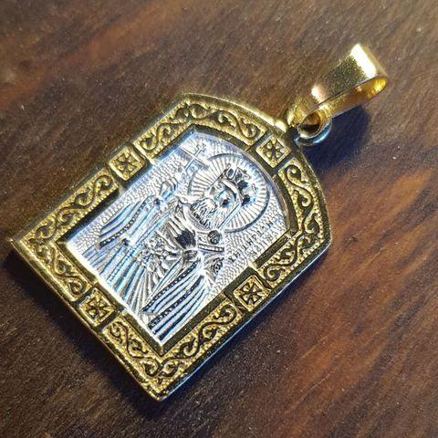 Нательная именная икона святой Константин с позолотой кулон с молитвой