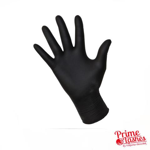 Перчатки нитриловые текстурированные (черные) 1 пара