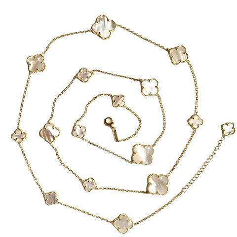 70432- Колье- нить Trendy  из серебра  в лимонной позолоте с перламутром- 16 лепестков