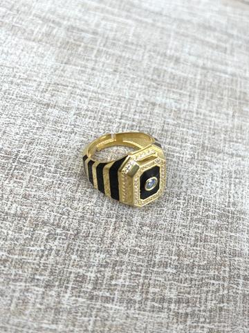 Кольцо Ситрисия, позолота с черными полосками
