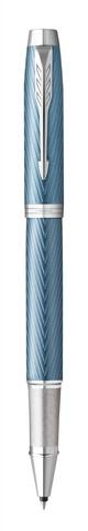 Ручка роллер Parker IM Premium T318  Blue Grey CT F черные чернила, в подарочной коробке123