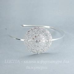 Ободок для волос с филигранью 56 мм (цвет - серебро), 3 мм