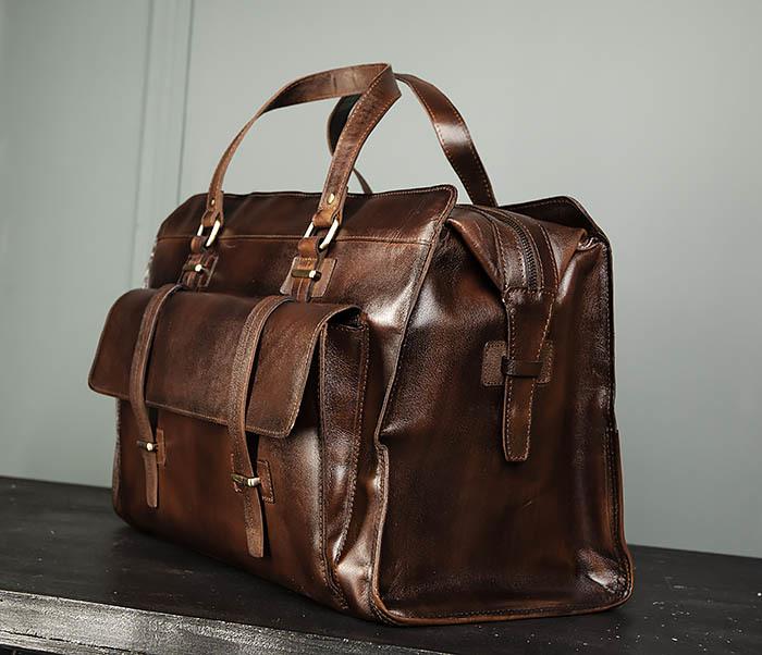 BAG468-2 Мужская сумка саквояж из натуральной кожи фото 04