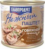 Паштет Нежный с говяжьей печенью, 240 гр, Главпродукт
