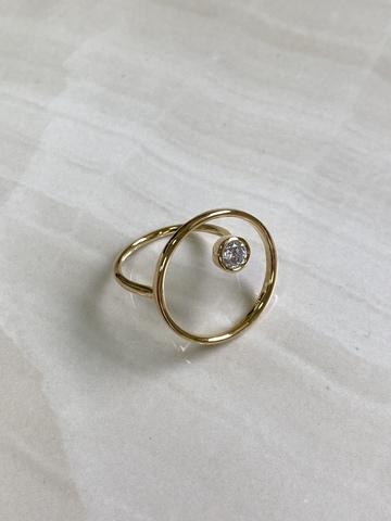 Кольцо Энштиана с цирконом, позолота