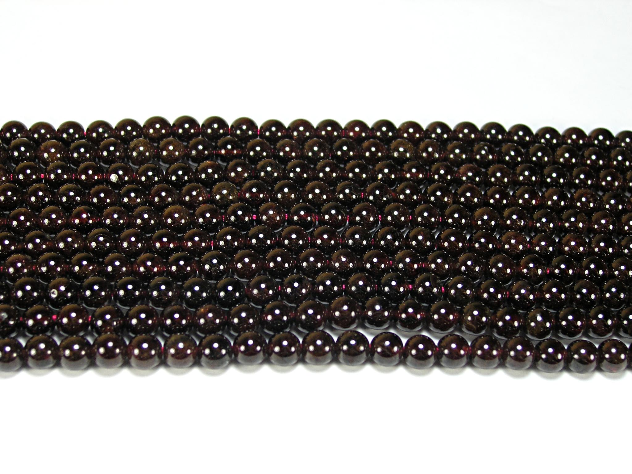 Нить бусин из граната (альмандина), шар гладкий 6мм