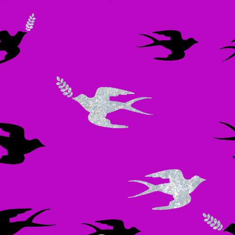 Серебряные и чёрные ласточки на фиолетовом фоне