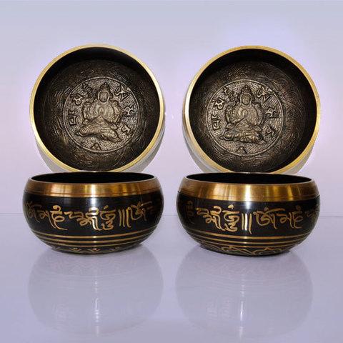 Чаша поющая с барельефом Будда для лечения и медитации,d-12 см