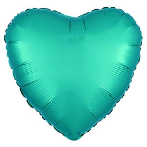 Шар сердце Бирюзовый сатин, 45 см