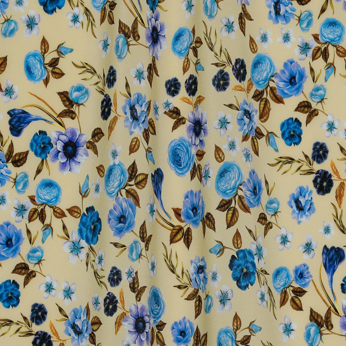 Тонкий шёлковый крепдешин голубые цветы на жёлтом