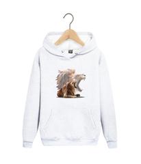 Толстовка белая 001 с капюшоном (худи, кенгуру) и принтом Лев (Lion)