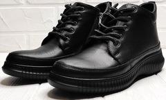 Термо ботинки женские кожаные осень Evromoda 535-2010 S.A. Black
