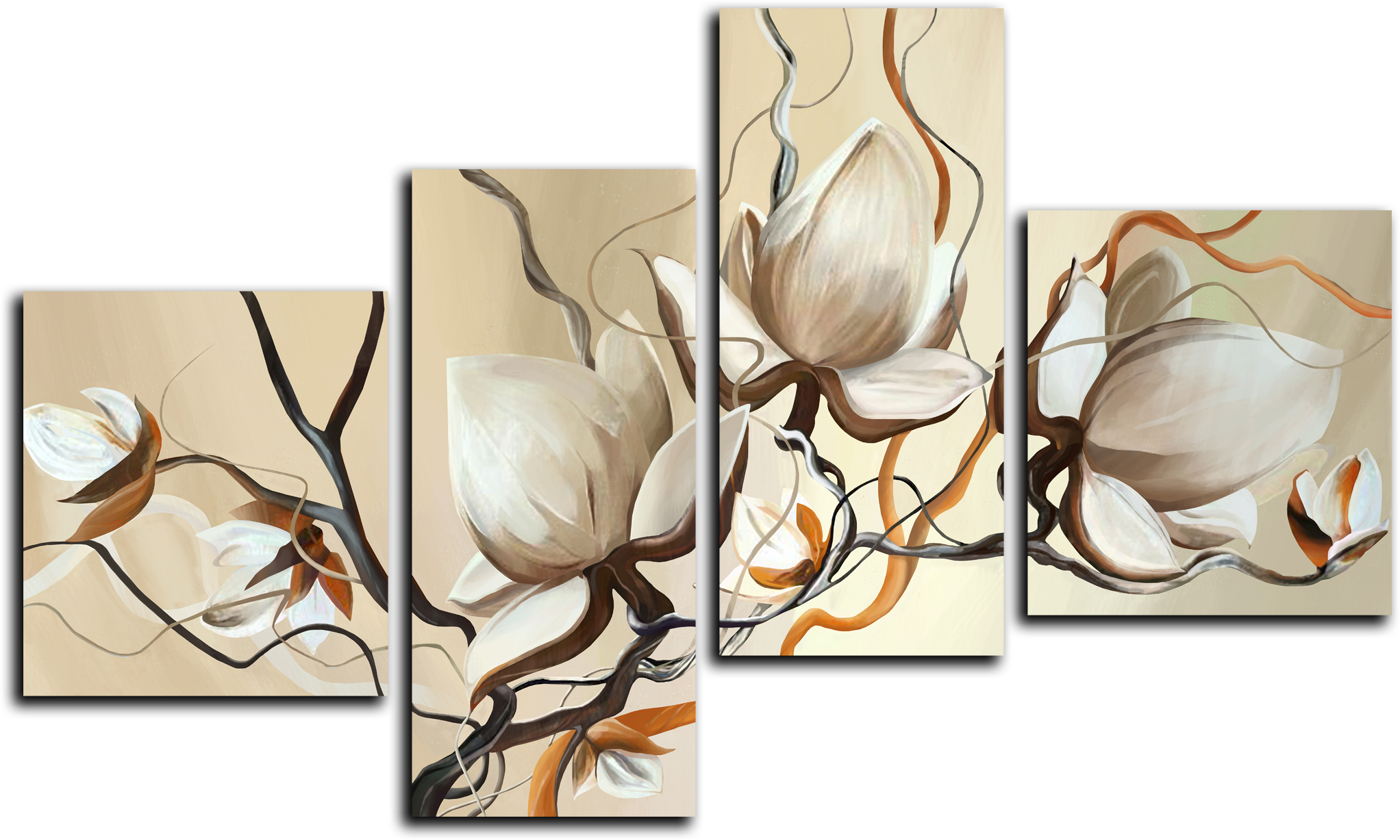 """Модульные картины Модульная картина """"Кремовые цветы"""" М31.png"""