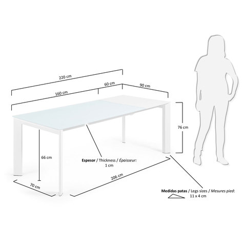 ATTA Стол 160 (220) x90 белое стекло