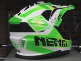 Кроссовый мотошлем NENKI NK-316, белый-зелёный