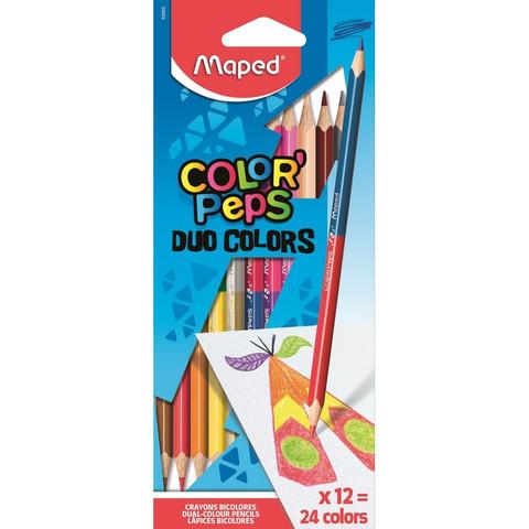 Карандаши цветные Maped Duo 24 цвета (двусторонние) трехгранные