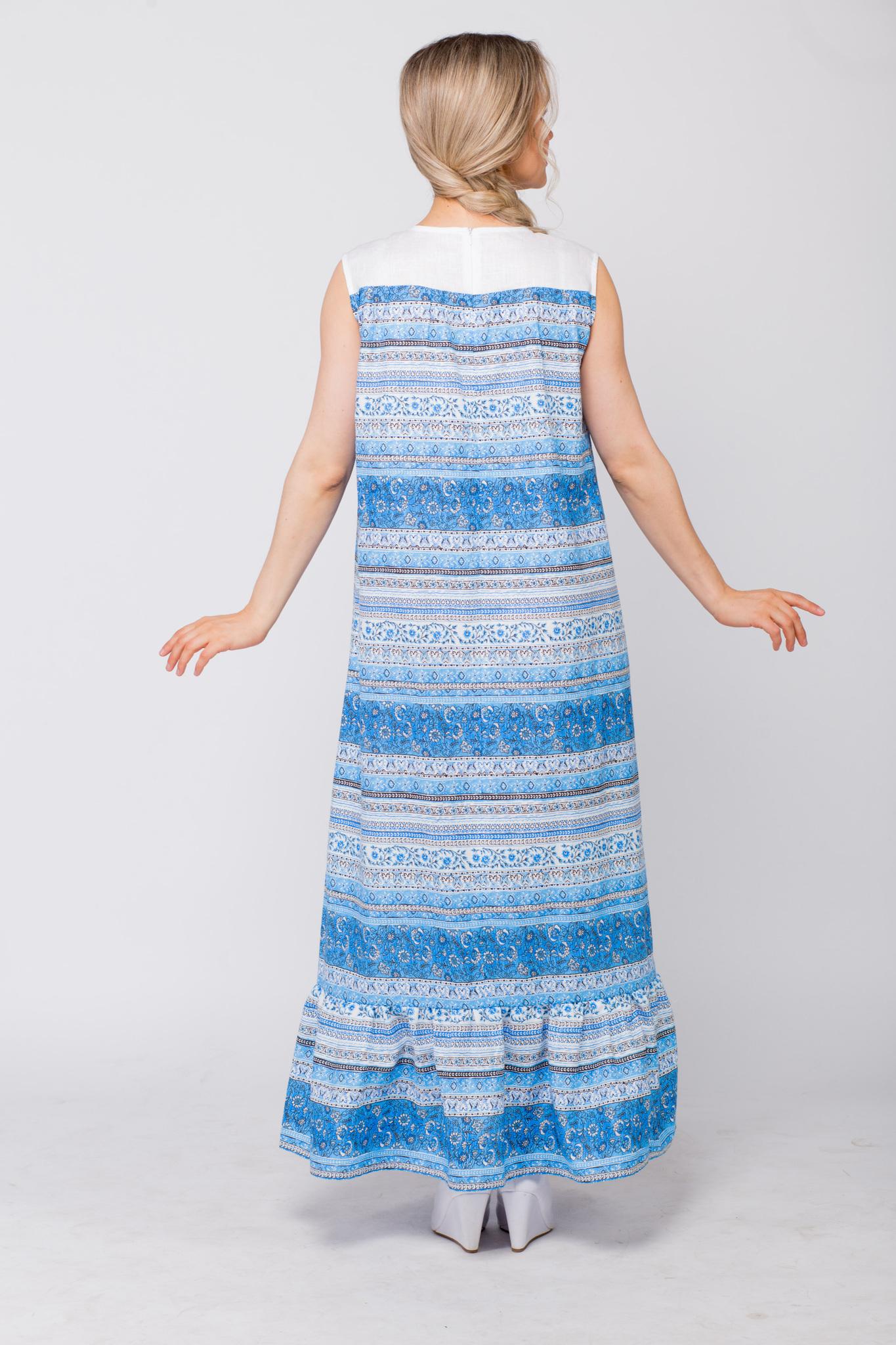 Платье льняное Утренняя роса вид сзади