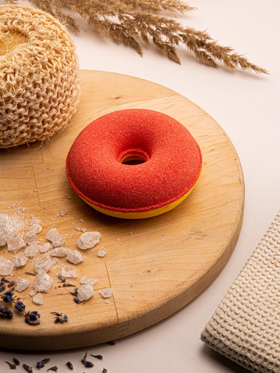Бомбочка для ванны Turanica Пончик бурлящий с пенкой