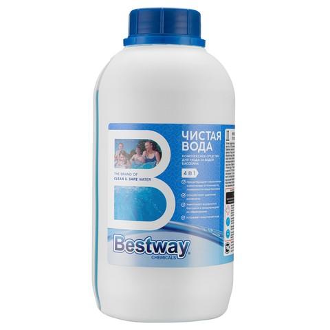 Средство для бассейнов Чистая вода Bestwаy 4 в 1 для ухода за водой 0,75л