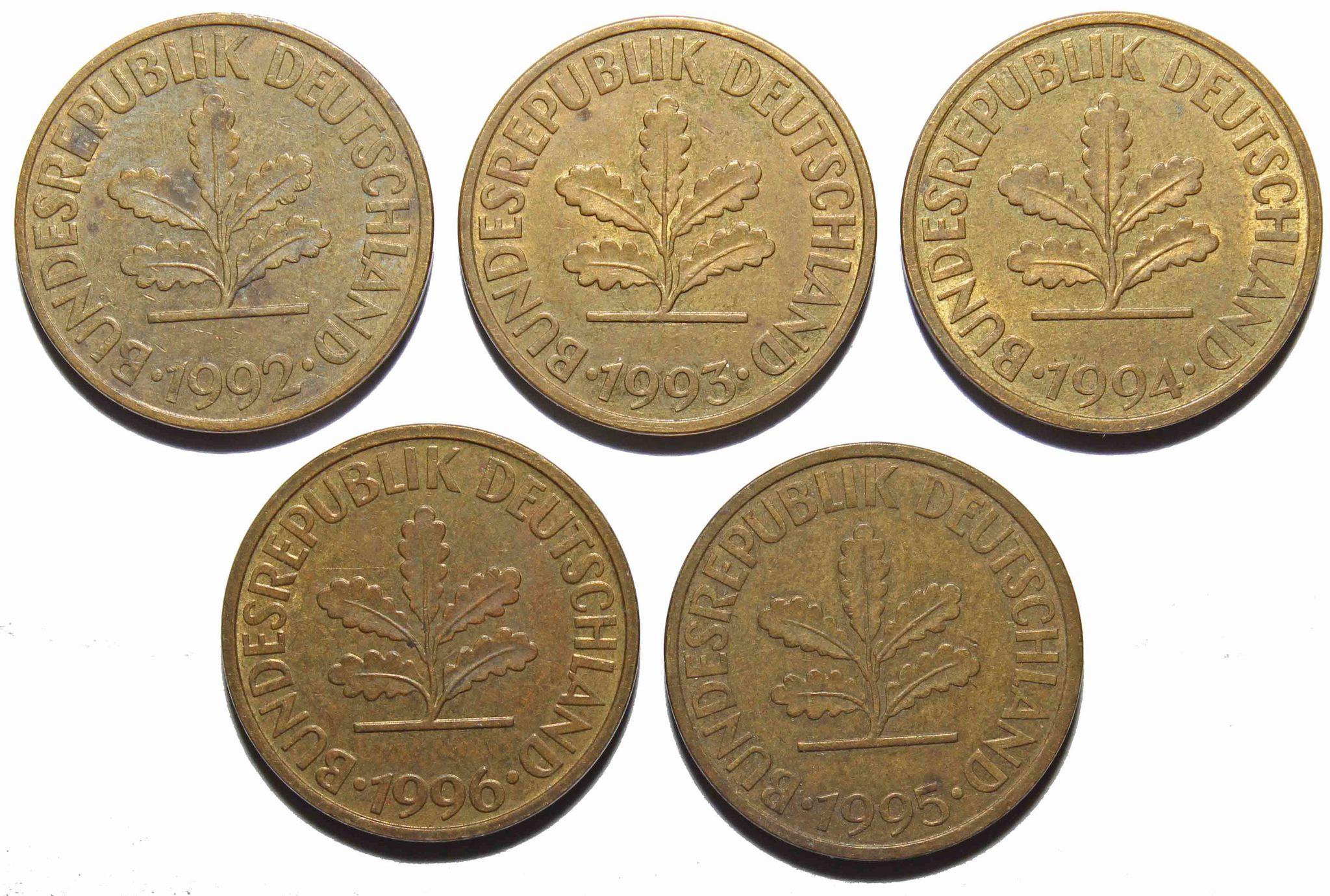Набор из 5 монет 10 пфеннигов Германия ФРГ 1992-1996 гг. VF-XF