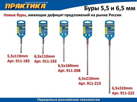 Бур SDS-plus ПРАКТИКА  6,5 х 250/310 мм серия