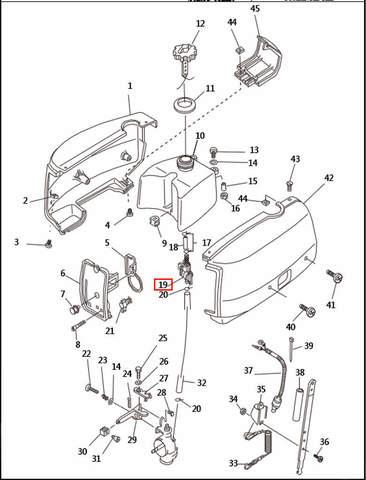 Кран топливный   для лодочного мотора T2,5 SEA-PRO (1-19)