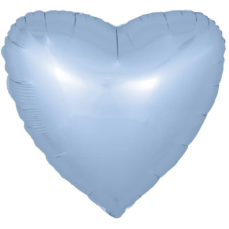 Фольгированный воздушный шар сердце, голубой, 46 см