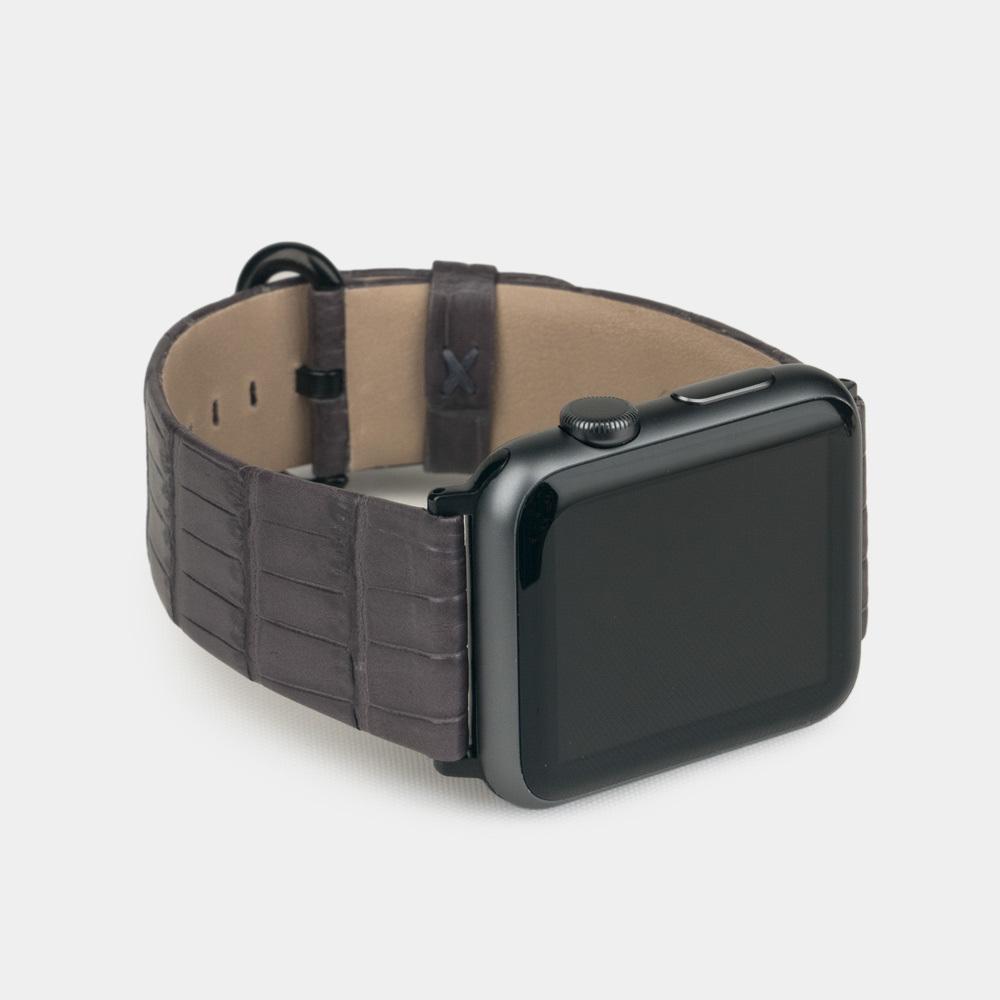 Ремешок для Apple Watch 42/44мм ST Classic из натуральной кожи крокодила, серый цвета