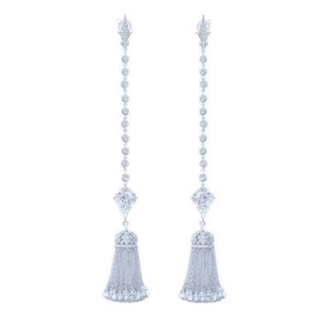 4802 - Серьги длинные с подвесками кисточками  из серебра с цирконами
