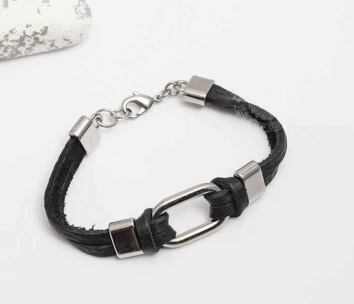 SL0014-K Мужской браслет Spikes из черной кожи со сталью