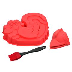 Набор кулинарный из силикона: форма для выпечки, прихватка, кисточка
