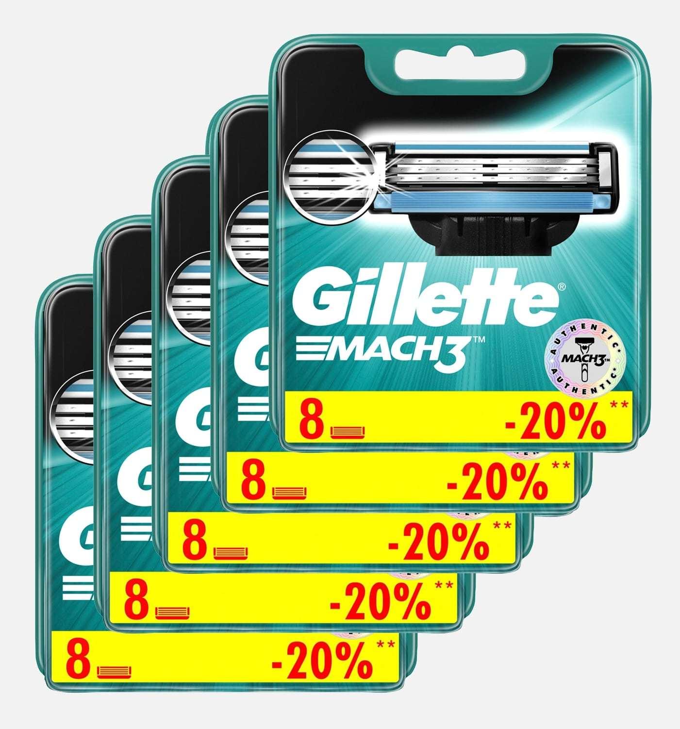 Сменные кассеты для бритья Gillette MACH3 комплект 5 по 8 (40 шт)