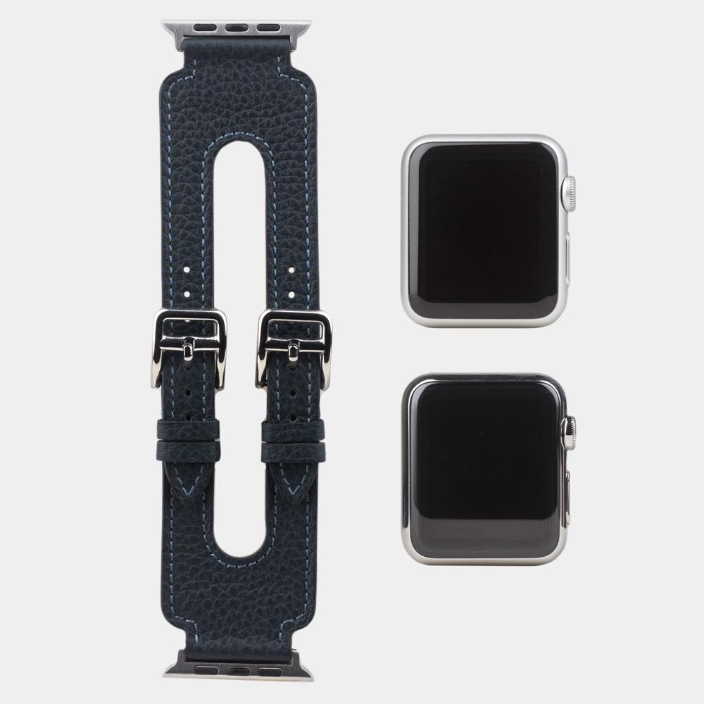 Ремешок для Apple Watch 42мм ST Double Buckle из натуральной кожи теленка, синего цвета