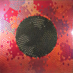 Black Sphere against red background