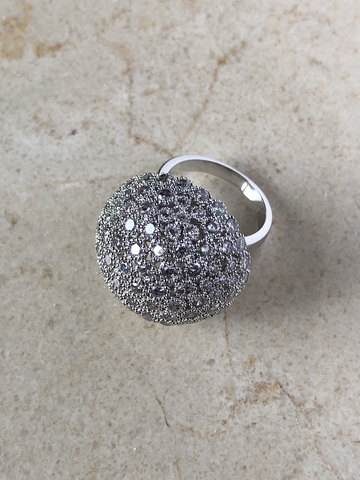Кольцо Элизабета с цирконами, серебряный цвет