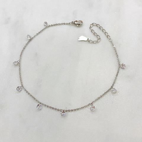 Анклет с круглыми кристальными подвесками (серебристый)