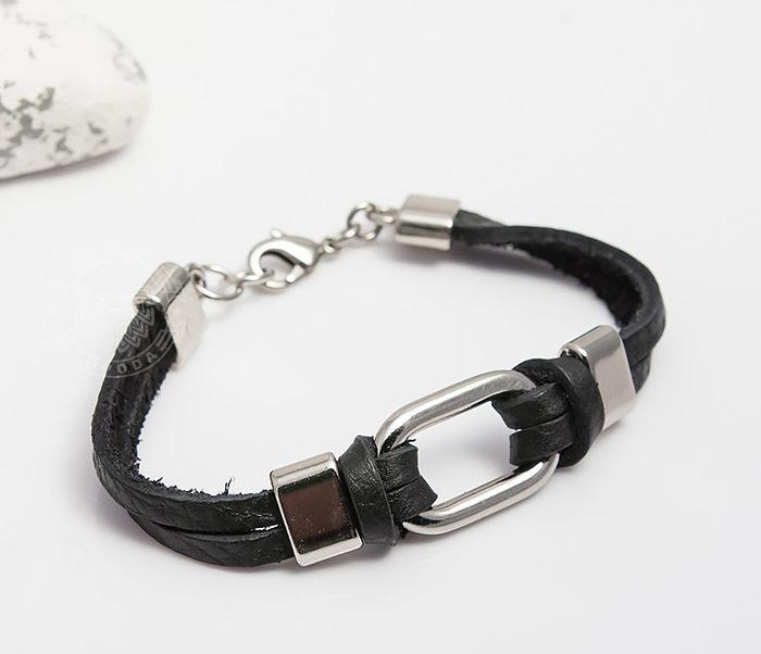 SL0014-K Мужской браслет Spikes из черной кожи со сталью фото 02