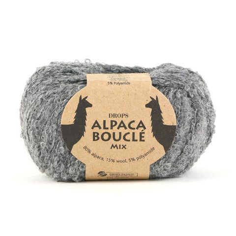 Пряжа Drops Alpaca Boucle 0517 серый