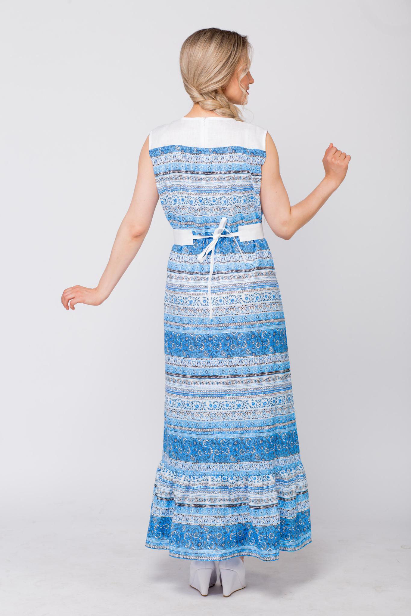 Платье льняное Утренняя роса с поясом вид сзади