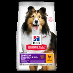 Корм для собак Hill`s Science Plan Adult Sensitive Stomach & Skin, для здоровья кожи и пищеварения, с курицей