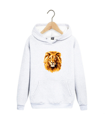 Толстовка белая 005 с капюшоном (худи, кенгуру) и принтом Лев (Lion)