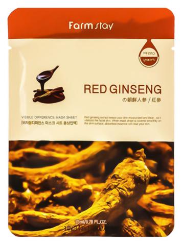 Маска для лица - корень красного женьшеня | FarmStay VISIBLE DIFFERENCE MASK SHEET Red Ginseng