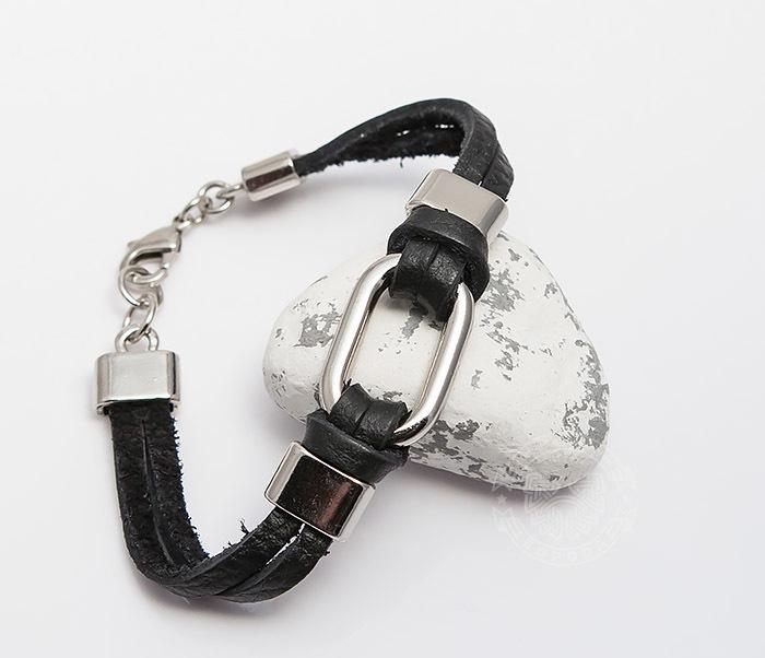 SL0014-K Мужской браслет Spikes из черной кожи со сталью фото 04