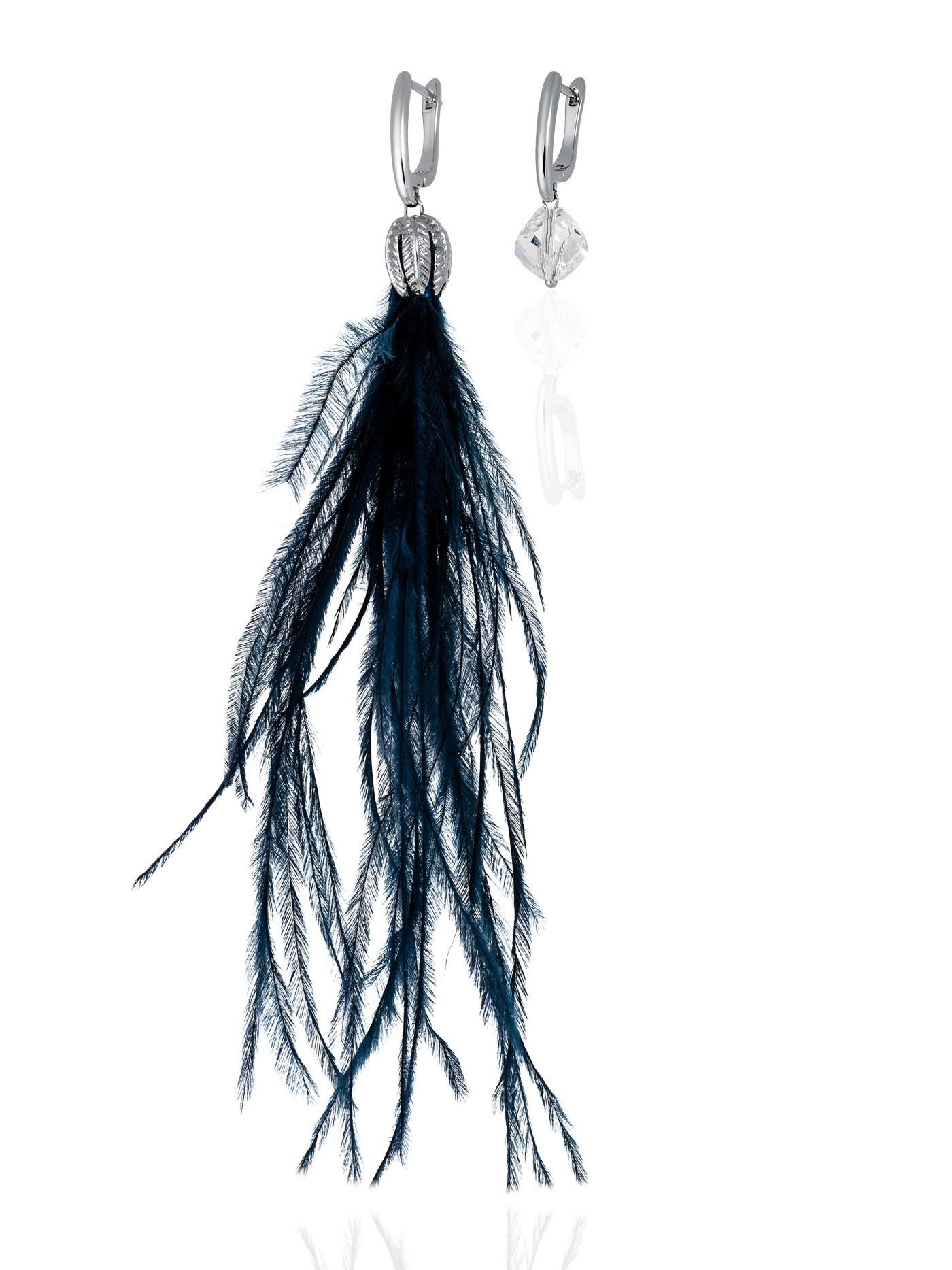 Асимметричные серьги с перьями и кристаллами Swarovski