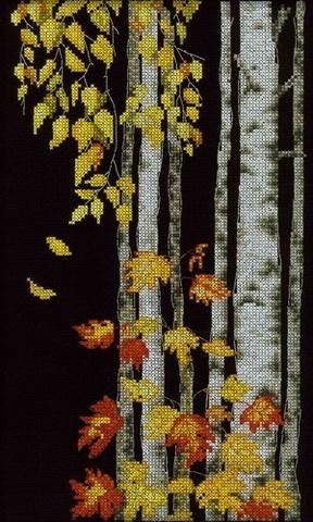 Коллекция:Пейзаж¶Название по-английски:Birch leaves falling¶Название по-русски:Березовый листопад