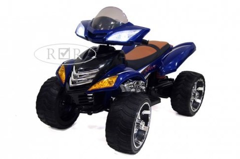 Электроквадроцикл Rivertoys E005KX-A синий кожа+надувные колеса