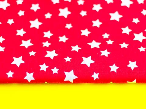 Тканина бавовна, Let's make відріз 30x40 см. Малюнок - білі зірочки на червоному 310676859
